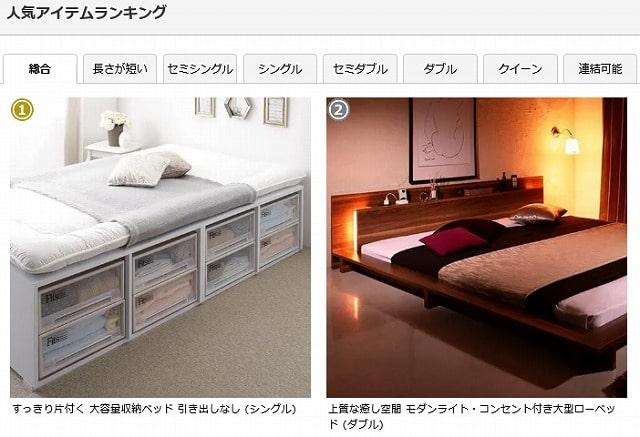 ベッドスタイルのランキング